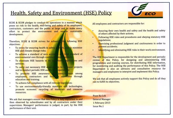 Health, Safety and Environment (HSE) Policy